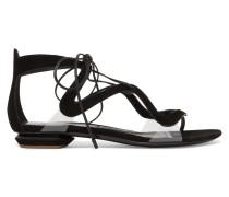 Serafin Pvc-trimmed Suede Sandals Schwarz