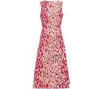 + Rose Cumming Flared Leopard-print Stretch-cotton Midi Dress