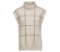 Bead-embellished Checked Cashmere Turtleneck Sweater Stein