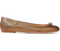 Crystal-embellished metallic leather ballet flats