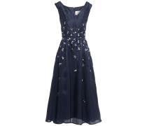 Pleated Embellished Silk-taffeta Midi Dress
