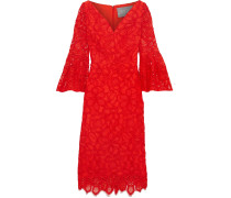Woman Corded Lace Dress Tomato Red