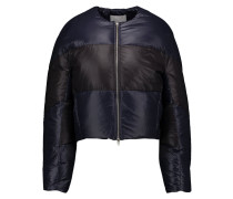 Striped Quilted Shell Down Jacket Mitternachtsblau