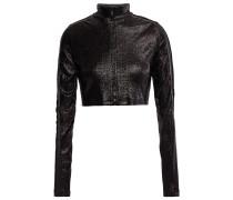 Woman Cropped Metallic Stretch-jersey Jacket Black