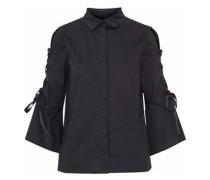 Cold-shoulder lace-up cotton-poplin shirt