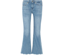 Lou Cropped High-rise Flared Jeans Mittelblauer Denim