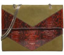 Paneled suede and python shoulder bag
