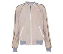Metallic-trimmed suede bomber jacket