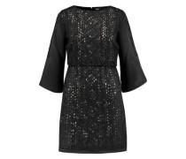 Embellished embroidered satin mini dress