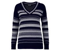 Striped Cotton Sweater Mitternachtsblau