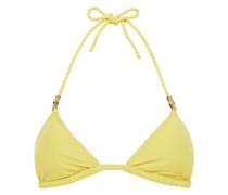Triangel-bikini-oberteil aus Stretch-piqué mit Verzierung