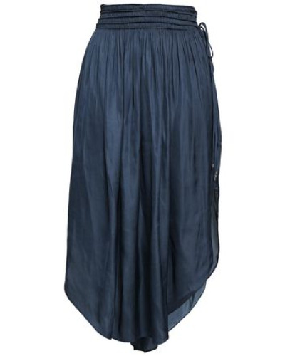 Shirred Satin Skirt Navy