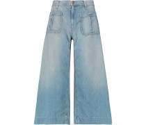 The Culotte Cropped Mid-rise Wide-leg Jeans Heller Denim