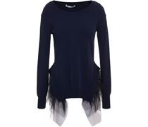 Pullover aus Stretch-strick mit Tüllbesatz