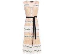 Lorna Lace-trimmed Striped Cotton-poplin Midi Dress