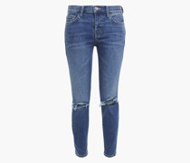 The Stiletto Cropped Distressed Mid-rise Skinny Jeans