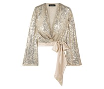 Satin-trimmed Sequined Silk-chiffon Wrap Top