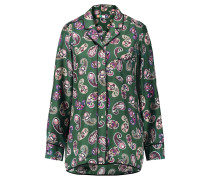 Printed Silk Shirt Smaragdgrün