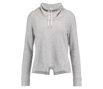 Draped Cotton-blend Sweater Hellgrau