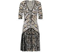 Pleated Metallic Leopard-jacquard Mini Dress