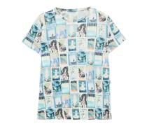 Bedrucktes T-shirt aus Leinen-jersey mit Flammgarneffekt