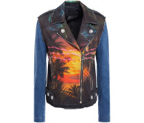 Printed Denim Biker Jacket