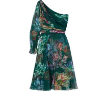 One-shoulder Pleated Floral-print Chiffon Dress