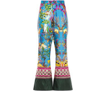 Woman Printed Twill Flared Pants Blue