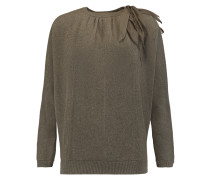 Cutout Ribbed Cashmere Sweater Armeegrün