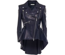 Pleated Leather Biker Jacket