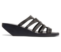 Nautilus Sliver Textured-leather Wedge Sandals Anthrazit