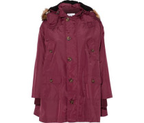 Faux fur-trimmed shell hooded coat