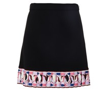 Printed Silk Twill-trimmed Wool-crepe Mini Skirt