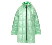 Pyramide Oversized Layered Pvc And Shell Hooded Down Raincoat