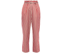 Belted Striped Cotton And Silk-blend Straight-leg Pants