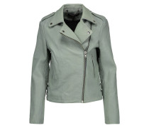 Bubble Healey Leather Biker Jacket Graugrün