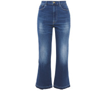 Le Crop Flare Faded High-rise Kick-flare Jeans