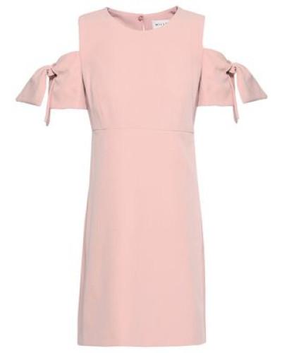 Cold-shoulder Crepe Mini Dress Baby Pink