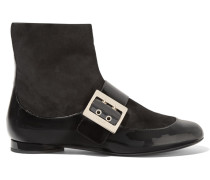 Paneled Patent-leather And Suede Boots Schwarz