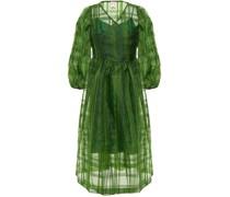 Titania Gerafftes Midi-wickelkleid aus Organza mit Karomuster
