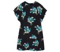 Fluted Floral-print Silk-georgette Mini Dress