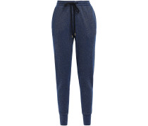 Metallic Cotton-blend Track Pants