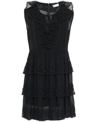 Lace-trimmed Tiered Silk-georgette Mini Dress Black