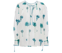 Gathered Printed Cotton Blouse