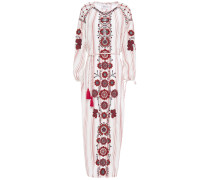 Camilla Embroidered Striped Cotton-gauze Midi Dress