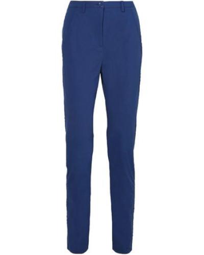 Stretch-cotton Poplin Straight-leg Pants Indigo Size 0