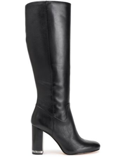 Chain-trimmed Leather Knee Boots Black