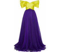 Woman Strapless Sequin-embellished  Silk-satin Faille And Tulle Gown Purple