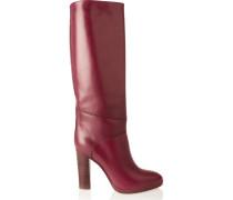 Leather Knee Boots Burgunder