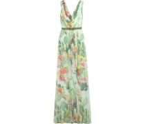 Embellished Floral-print Silk-chiffon Gown Mint
